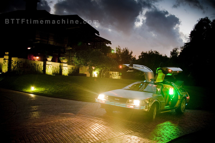 The Delorean Time Machine at Night Driver's Side View