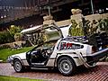 The Delorean Time Machine Daytime with Doors Aloft