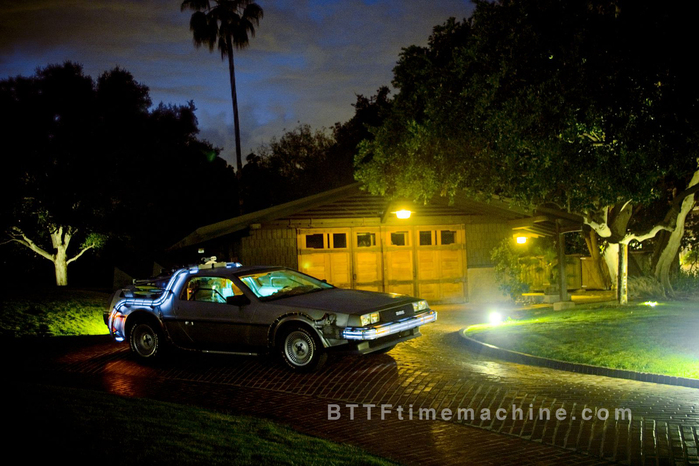 The Delorean Time Machine in front of Doc's Garage